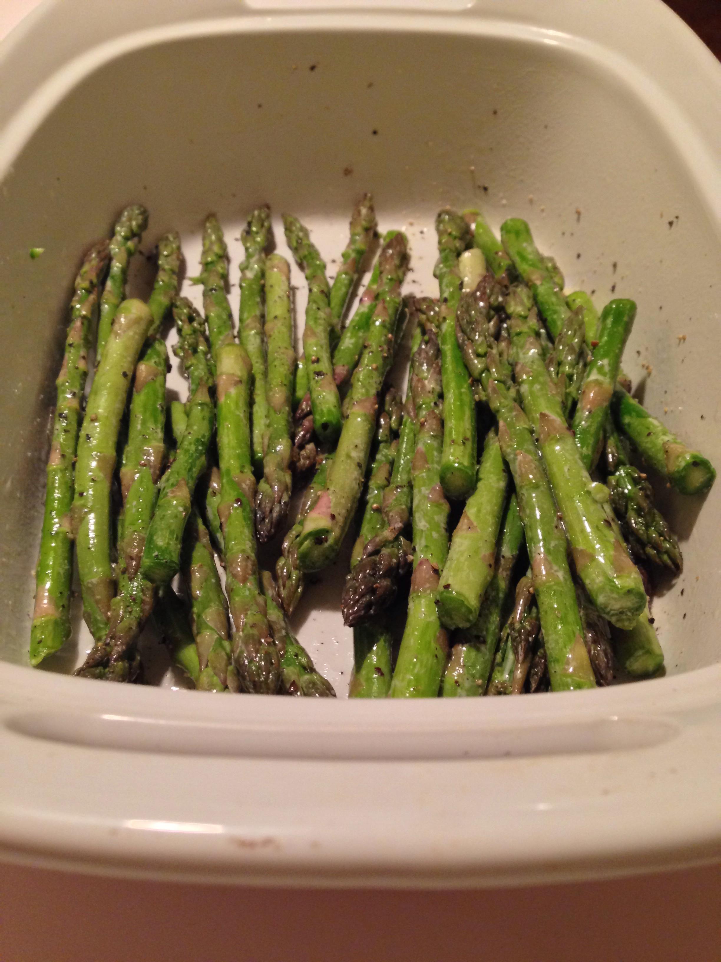 Asparagus: 1 Bundle Baby Asparagus 1 Tbsp Olive Oil 2 Tbsp Butter 1 Tbsp  Minced