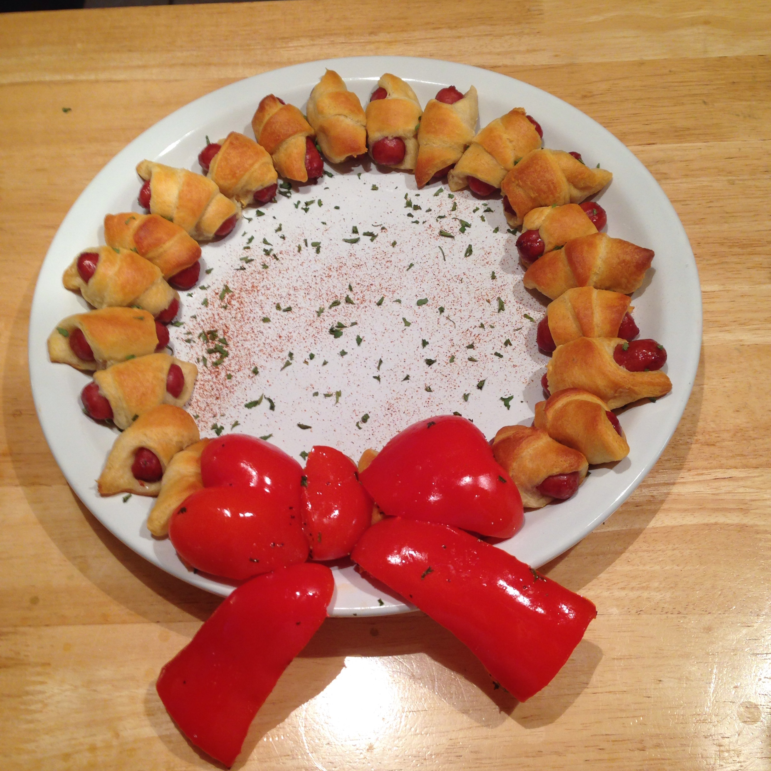 Pigs in a blanket with a Christmas Twist  Grouchys